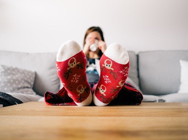 Woman Wearing Socks Comfy at Home