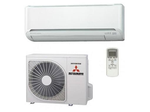 Components of a Mitsubishi split system air conditioner.