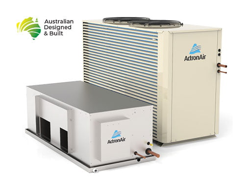 Outdoor unit and indoor bulkhead as part of an Actron ducted air conditioning system