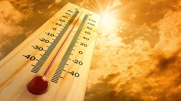 Thermometer showing scorching hot temperature
