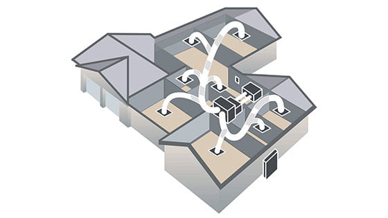 Layout of a ducted aircon system with ductwork supplying cooled air to multiple rooms.