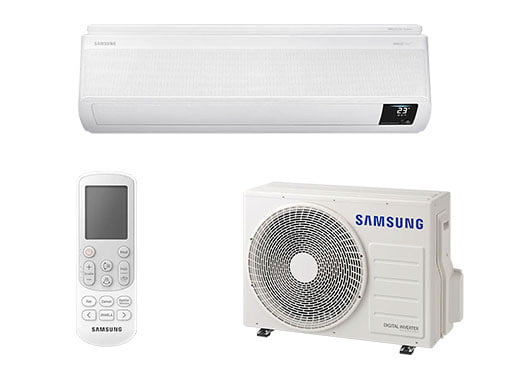 Components of a Samsung spit system air conditioner including the remote, indoor and outdoor units.