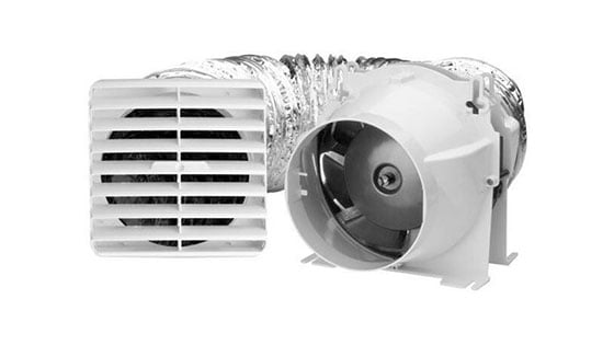 Fresh air ventilation system showing fan and vent connected via ducting
